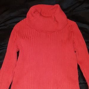 Long sleeve red turtleneck sweater